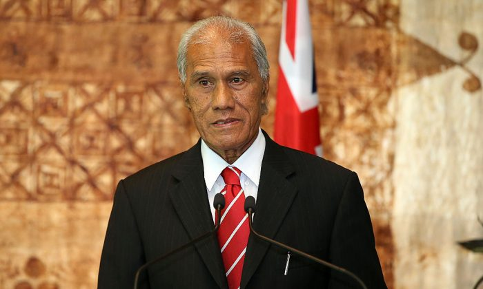 Tongan Prime Minister Samuela 'Akilisi Pohiva speaks to media at Government House in Auckland, New Zealand on July 28, 2016. (Fiona Goodall/Getty Images/The Department of Internal Affairs)