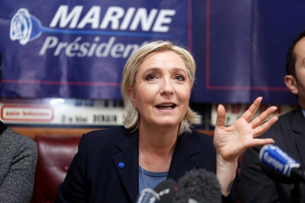 Marine Le Pen attends a political rally