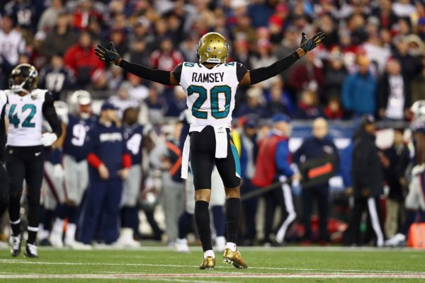 Jalen Ramsey of the Jacksonville Jaguars reacts during the second half of the AFC Championship Game against the New England Patriots on Jan. 21, 2018.