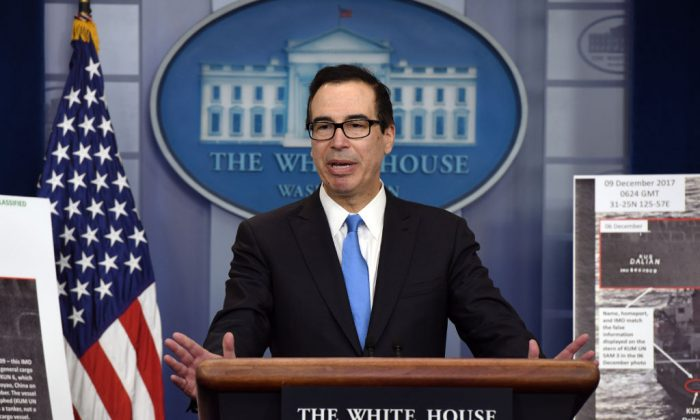 Treasury Secretary Mnuchin speaks about the U.S. administration's North Korea sanctions in the Briefing Room of the White House in Washington, D.C., on Feb. 23, 2018. (Olivier Douliery/AFP/Getty Images)
