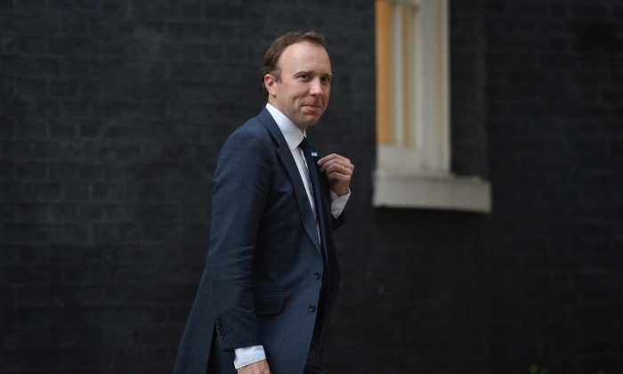 Health Secretary Matt Hancock leaves Number 10 Downing Street in London on July 9, 2018. (Leon Neal/Getty Images)