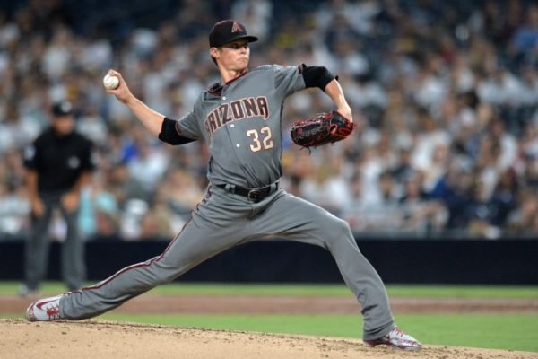 Arizona Diamondbacks starting pitcher Clay Buchholz pitches against the San Diego Padres during the first inning.