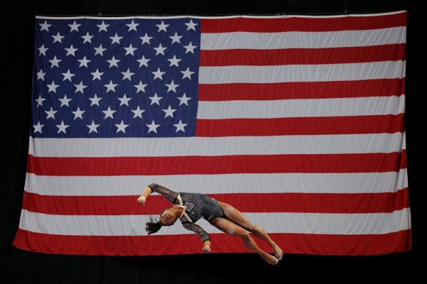 Simone Biles competes on the balance beam at the U.S. Gymnastics Championships in Boston, Mass., Aug. 17, 2018.