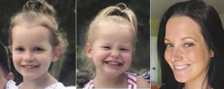 This photo combo of images provided by The Colorado Bureau of Investigation shows, from left, Bella Watts, Celeste Watts and Shanann Watts. (The Colorado Bureau of Investigation via AP)