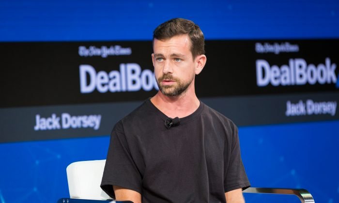 Jack Dorsey speaks during The New York Times 2017 DealBook Conference at Jazz at Lincoln Center in New York City, on Nov. 9, 2017. (Michael Cohen/Getty Images for The New York Times)