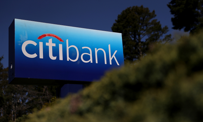 A sign is posted in front of a Citibank office on April 13, 2018 in Mill Valley, California. (Justin Sullivan/Getty Images)