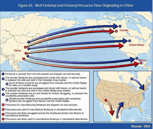 The Drug Enforcement Administration depicts the flow of illicit opioids from China into the United States in a recent report. (DEA)