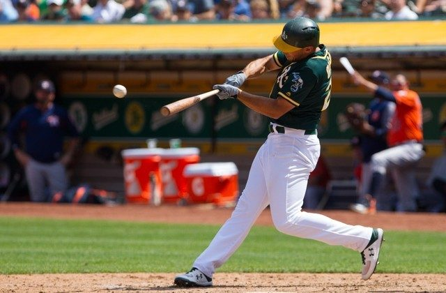 Oakland Athletics first baseman Matt Olson hits a double to send designated hitter Khris Davis in for a run against the Houston Astros in the sixth inning. (Andrew Villa/USA Today Sports)