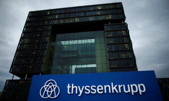 A logo of ThyssenKrupp AG is pictured outside the ThyssenKrupp headquarters in Essen on Nov. 23, 2017. (Reuters/Thilo Schmuelgen)