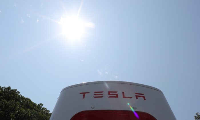 A Tesla electric car supercharger station is seen in Los Angeles on Aug. 2, 2018.