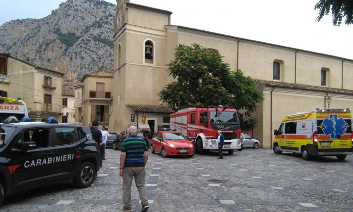 Rescue vehicles gather in Civita, Italy on Aug. 20, 2018. (Clemente Angotti/AP)
