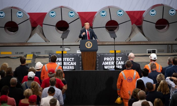 US President Donald Trump gives a speech about trade at US Steel's Granite City Works steel mill in Granite City, Illinois July 26, 2018.  (SAUL LOEB/AFP/Getty Images)