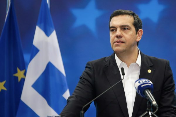 Greece's Prime Minister Alexis Tsipras gives a press conference on the sidelines of the European Union leaders' summit, to discuss Brexit and eurozone reforms on June 29, 2018 at the Europa building in Brussels. (Aris Oikonomou /AFP/Getty Images)