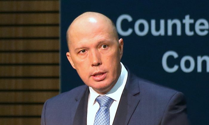 Former Home Affairs Minister Peter Dutton speaks at the opening of the Counter Terrorism Conference at being held during the one-off summit of 10-member Association of Southeast Asian Nations (ASEAN) in Sydney, Australia, March 17, 2018. (Rick Rycroft/Pool via Reuters/File photo)