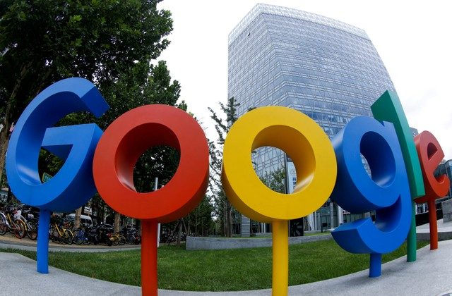 The brand logo of Alphabet Inc's Google is seen outside its office in Beijing, China August 8, 2018. (Reuters/Thomas Peter)