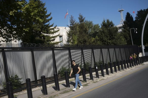 Shots were fired at a security booth outside the embassy in Turkey's capital early Monday