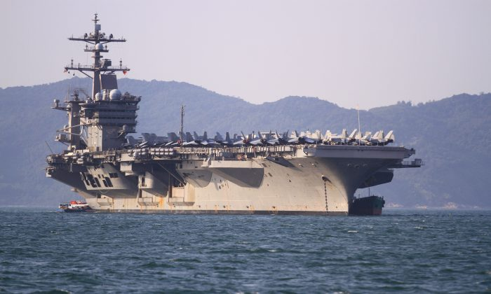 As part of an effort to bolster ties with Vietnam, the USS Carl Vinson visits Danang on March 5, 2018.