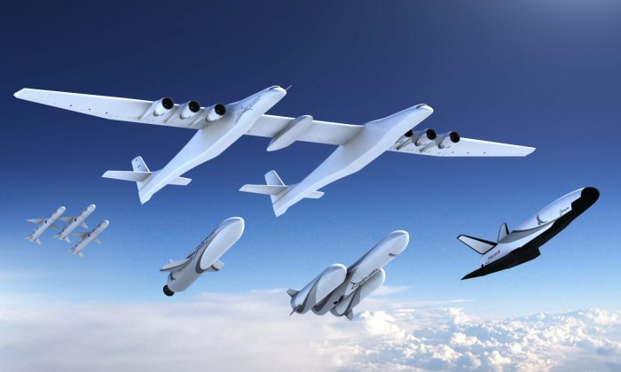 A new family of launch vehicles including air-launch system, medium-lift rockets and a reusable space cargo plane, are seen in this artist's rendering image released by Stratolaunch Systems Corp, the space company of billionaire Microsoft co-founder Paul Allen, based in Seattle, Washington, U.S., on August 20, 2018.   Courtesy Stratolaunch/Handout via REUTERS