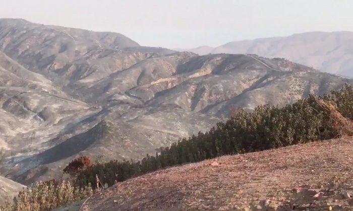 FILE PHOTO - A general view of the aftermath from the Holy fire, in McVicker Canyon, California, U.S., August 11, 2018 in this still image from social media obtained on August 12, 2018. CARLA HARPER/via REUTERS