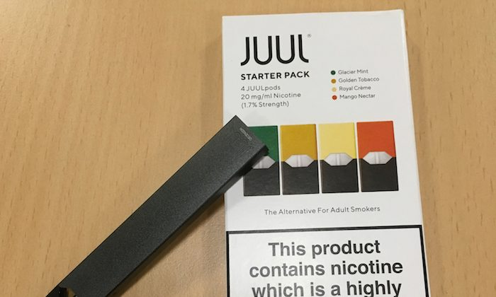 Juul e-cigarette starter pack is seen in this picture illustration taken July 16, 2018. (Reuters/Martinne Geller/Illustration)