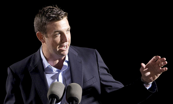 Congressman Duncan D. Hunter (R-CA) speaks at the launch of the Isla Bella, the first container ship to be powered by liquid natural gas, during a nighttime ceremony at General Dynamics NASSCO shipyard in San Diego, California April 18, 2015.    (Earnie Grafton/Reuters)