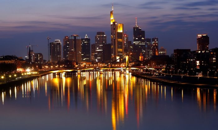 The Frankfurt skyline with its financial district is photographed on early evening in Frankfurt, Germany, on March 25, 2018. (Reuters/Kai Pfaffenbach)