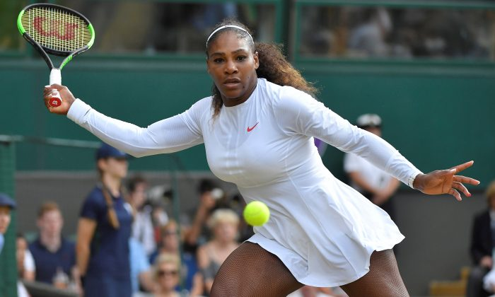 Serena Williams in action at Wimbledon, London, Britain on July 14, 2018.  (Reuters/Toby Melville)