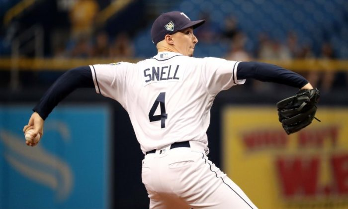 Tampa Bay Rays starting pitcher Blake Snell throws a pitch during the second inning against the Kansas City Royals. (Kim Klement/USA Today Sports)