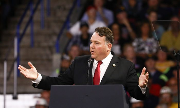 Rep. Alex Mooney (R-W.Va.) speaks at a Make America Great Again rally in Charleston, W. Va., on Aug. 21, 2018. (Charlotte Cuthbertson/The Epoch Times)