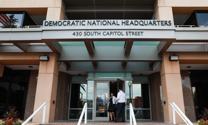 The Democratic National Headquarters building in Washington on July 11, 2018. (Samira Bouaou/The Epoch Times)