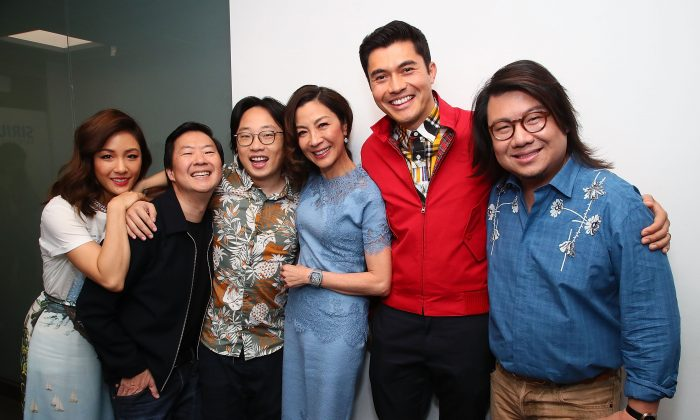 (L-R) Constance Wu, Ken Jeong, Jimmy O. Yang, Michelle Yeoh, Henry Golding and Kevin Kwan attend SiriusXM's Entertainment Weekly Radio Spotlight With The Cast Of 'Crazy Rich Asians' on August 15, 2018 in New York City. (Photo by Astrid Stawiarz/Getty Images for SiriusXM)