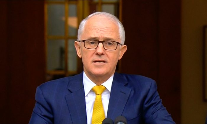 Then-Prime Minister Malcolm Turnbull at a press conference at parliament in Canberra, Australia on Aug. 22, 2018. (Reuters)
