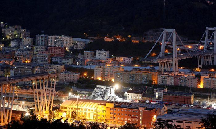 A general view of the collapsed Morandi Bridge in the port city of Genoa, Italy on Aug. 14, 2018. (Reuters/Stefano Rellandini)