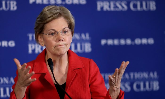 Sen. Elizabeth Warren (D-Mass.) speaks at the National Press Club in Washington on Aug. 21, 2018. (Win McNamee/Getty Images)