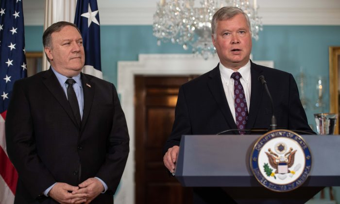 New US special representative to North Korea Stephen Biegun speaks after being named by Secretary of State Mike Pompeo (L) at the State Department in Washington, DC, on August 23, 2018. (NICHOLAS KAMM/AFP/Getty Images)