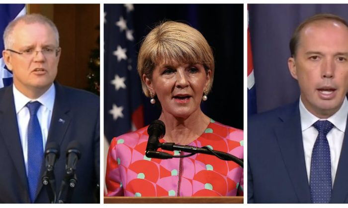 Treasurer Scott Morrison (L), Foreign Minister Julie Bishop (C) and Former Home Affairs Minister Peter Dutton (R) are contending for the top job in Australia. (Seven Network/ABC/Australian Parliament House Broadcasting Content via Reuters and Justin Sullivan/Getty Images)