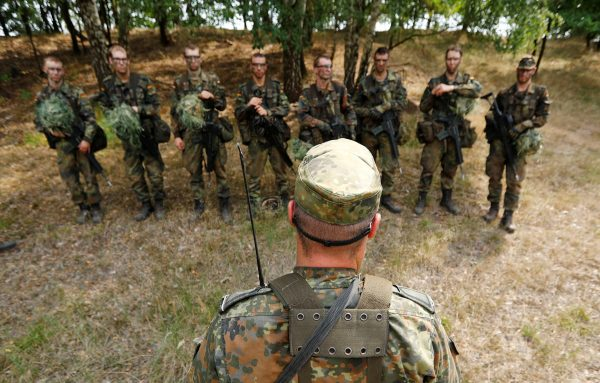 German Bundeswehr armed forces recruits receive a debriefing