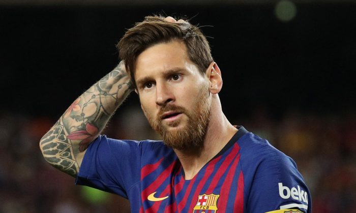Barcelona's Lionel Messi during the match between FC Barcelona v Alaves at Camp Nou, Barcelona, Spain, on Aug. 18, 2018. (Albert Gea/Reuters)