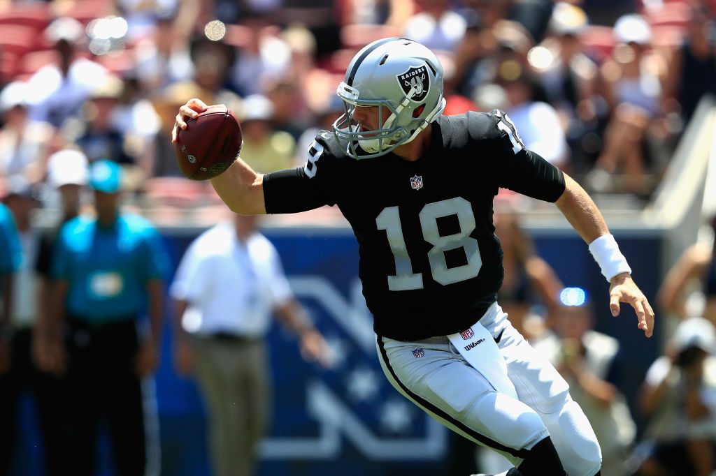 Connor Cook #18 of the Oakland Raiders.