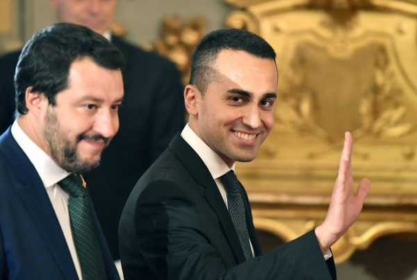 Di Maio and Salvini arrive at a swearing in ceremony in Rome