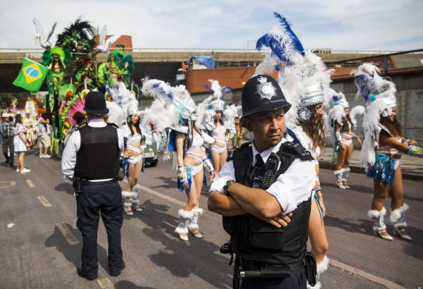 A policeman stands duty at Notting Hill Carnival