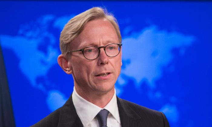 """The State Department's director of policy planning and head of the Iran Action Group, Brian Hook, speaks about the """"Iran Action Group"""" during a press briefing at the State department in Washington, D.C., Aug. 16, 2018. (ANDREW CABALLERO-REYNOLDS/AFP/Getty Images)"""