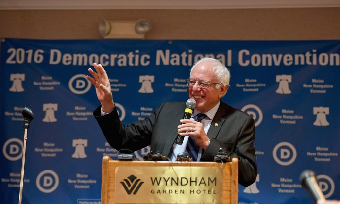 Senator Bernie Sanders addressed the New Hampshire, Maine and Vermont delegations breakfast at the Democratic National Convention in Essington, Pennsylvania on July 27, 2016 . (Jeff J Mitchell/Getty Images)
