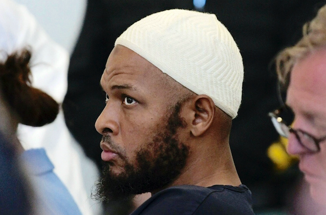 Defendant Siraj Ibn Wahhaj sits in court in Taos, N.M., during a detention hearing. On Aug. 13, 2018. (Roberto E. Rosales/The Albuquerque Journal via AP, Pool)