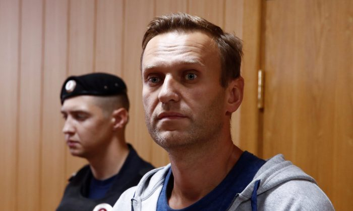 Russian opposition leader Alexei Navalny, who was recently detained over his participation in an anti-government protest in Jan. 2018, attends a court hearing in Moscow, Russia on Aug. 27, 2018. (Reuters/Maxim Shemetov)