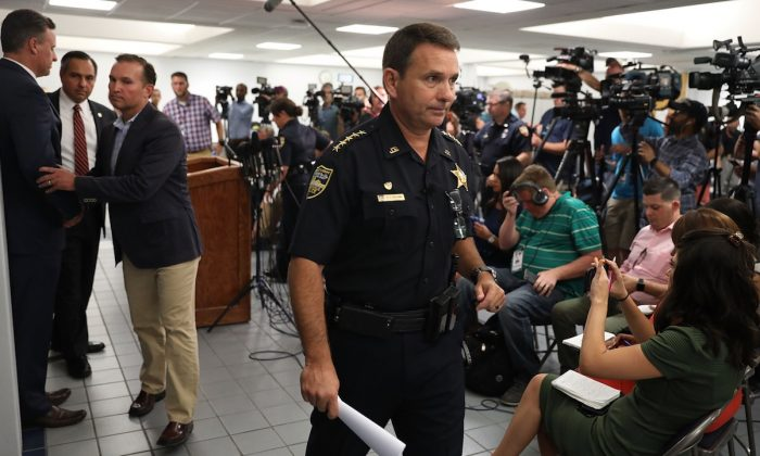 Jacksonville Sheriff Mike Williams exits after speaking to the media about the shooting at GLHF Game Bar where three people, including the gunman, were killed on Aug. 26, 2018, in Jacksonville, Fla. (Joe Raedle/Getty Images)