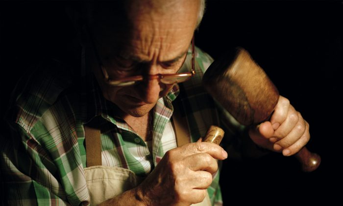Master woodcarver Bruno Barbon has been skillfully wielding his hammer and chisel for over 50 years, making and restoring everything from ornaments to furniture. (Susanna Pozzoli/Michelangelo Foundation for Creativity and Craftsmanship)