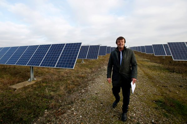 French environment minister Nicolas Hulot visits a photovoltaic power plant