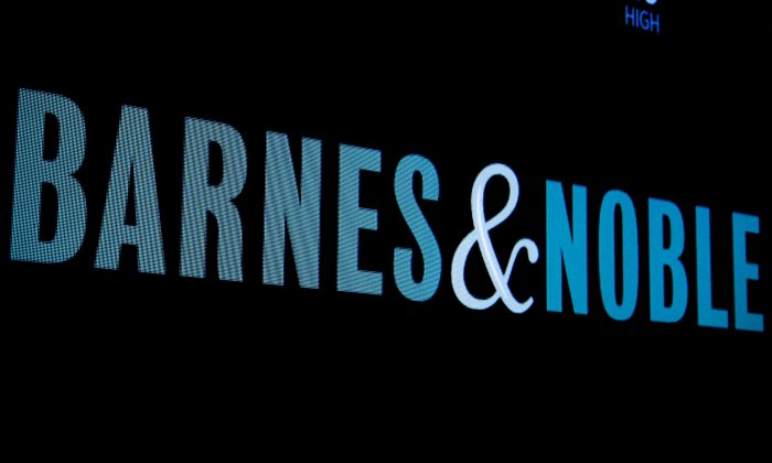 The logo for Barnes and Noble is displayed on a screen on the floor of the New York Stock Exchange (NYSE) in New York on May 18, 2018. (Brendan McDermid/Reuters)
