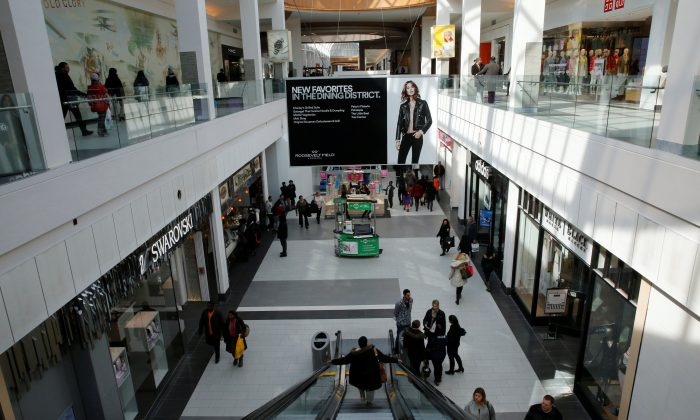 FILE PHOTO: People are seen walking through Roosevelt Field shopping mall in Garden City, New York February 22, 2015.    REUTERS/Shannon Stapleton/File Photo